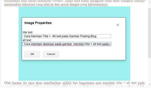 Cara memberi deskripsi pada gambar, memberi title + alt text pada gambar blog, bagaimana memberikan deskripsi gambar, deskripsi gambar untuk google index, situs buntu