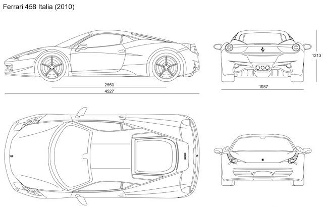 Blueprint untuk mobil Ferrari 458 Italia 2010.