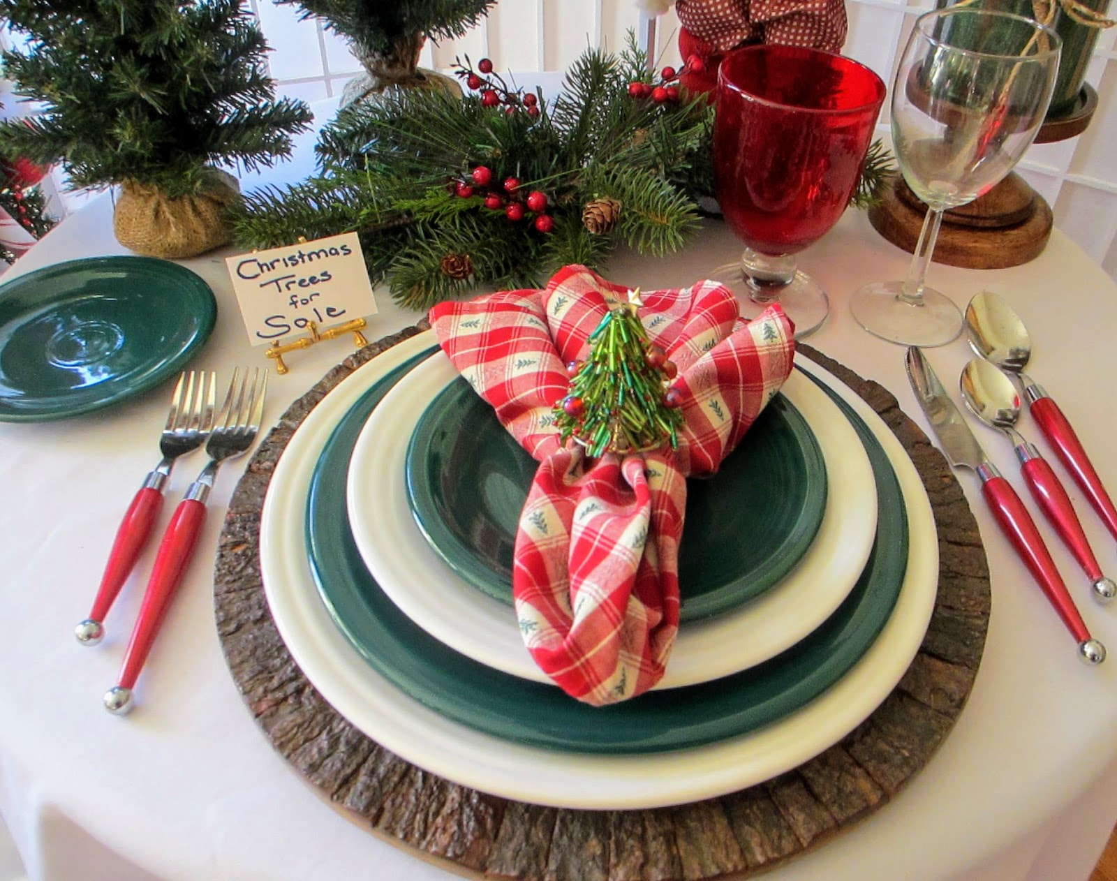 Table For One: Santa WithTrees And Evergreen Fiestaware