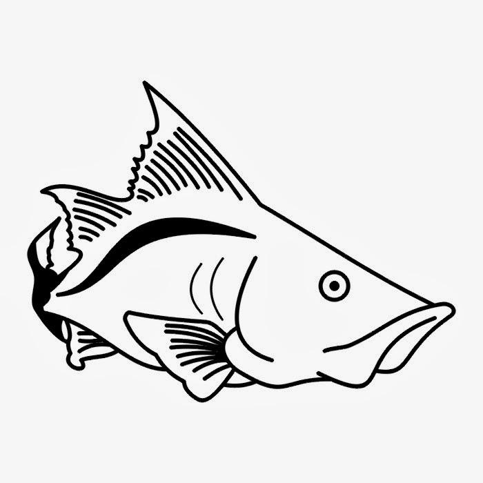 Barracuda fish tattoo stencil
