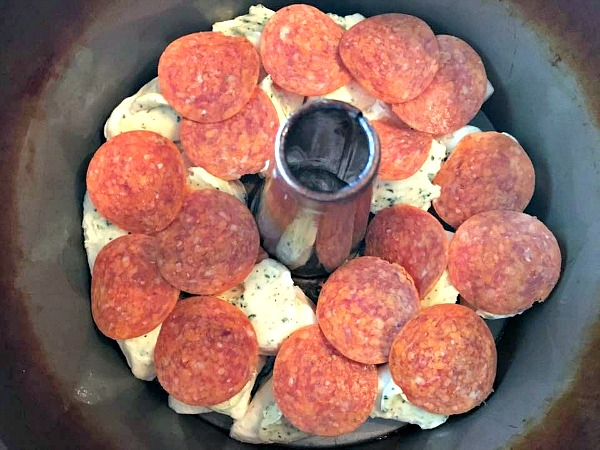 Pepperoni layer for Pepperoni Monkey Bread from Walking on Sunshine