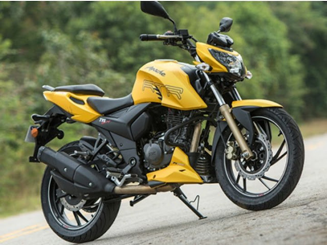 TVS Apache RTR 200 4V side profile yellow pics