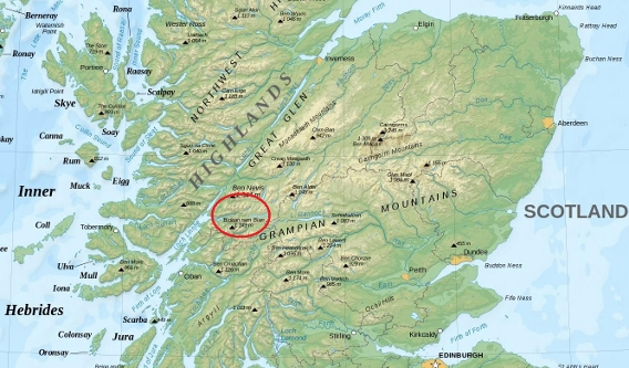 Map showing the location of Glen Coe