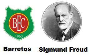 Só Freud explica - Barretos 0 x 2 Independente, mais uma derrota do BEC para time da zona do rebaixamento e desta vez em casa - Brasão do BEC - Barretos Esporte Clube e foto de Sigmund Freud tido por muitos como o maior psicólogo do mundo em todos os tempos. Ele foi médico neurologista e criador da Psicanálise, seu nome correto era Sigismund Schlomo Freud