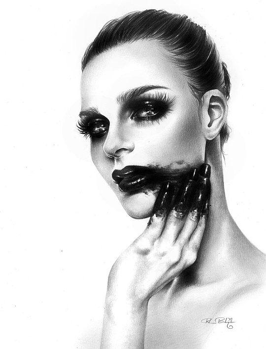Retrato dramático de mujer bonita