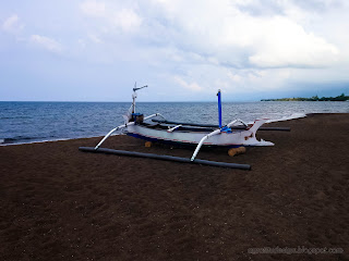 Beautiful Beach Scenery With Fishing Boat Parked The Beach Sand At Umeanyar Village, North Bali, Indonesia