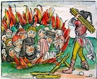 Vebaya sebepneden oldukları düşünüldüğü için diri diri yakılan Yahudiler. 1351 yılında Avrupa'da neredeyse hiç Yahudi kalmamıştı.