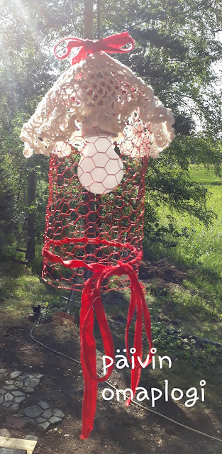 DIY Lampunvarjostin koristeverkosta/kanaverkosta
