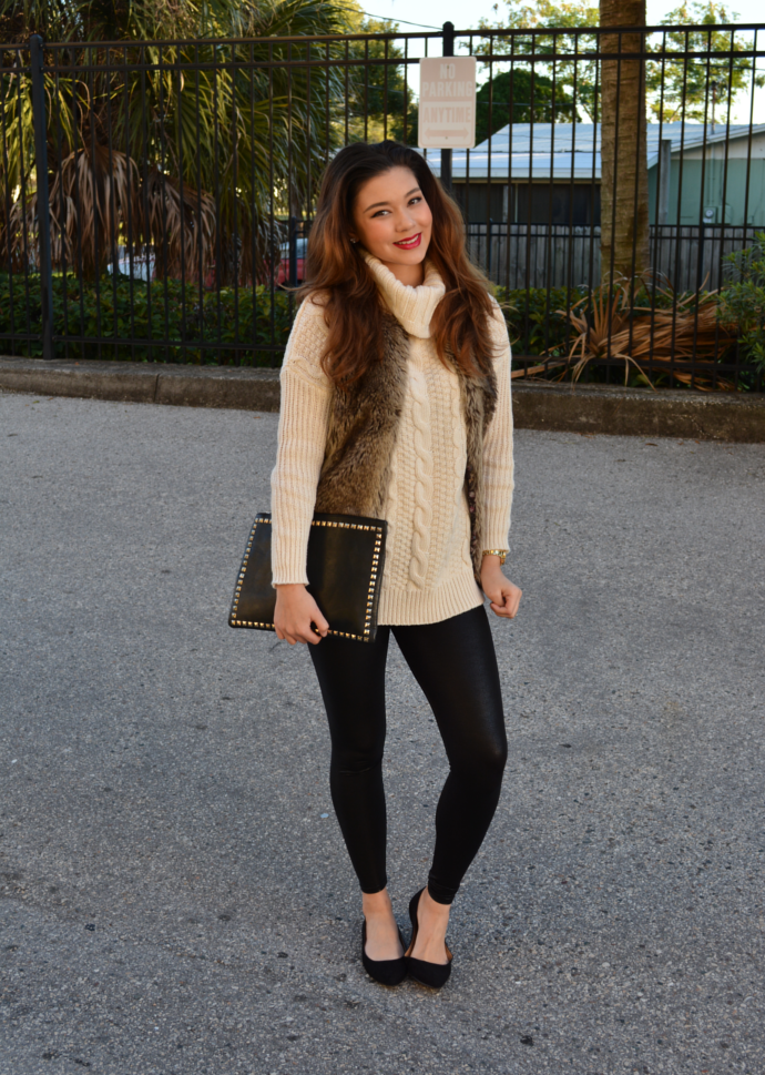 Beige Turtle Neck Knit Sweater, Knit Sweater, Trendyfine, Faux Fur Vest, Bershka, Studded Clutch Bag, Leggings outfit, Makemechic, pointy flats