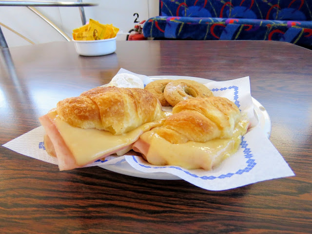 Ham and cheese croissants served on the Cau Cau boat cruise in Bariloche Argentina