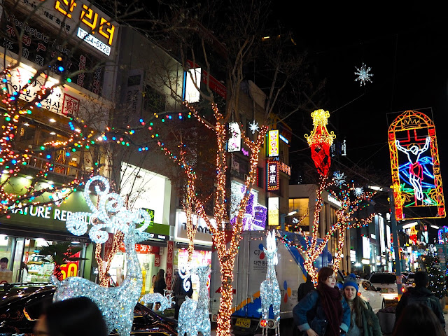 Christmas lights, with trees, reindeer and Christ, in Nampo, Busan, South Korea