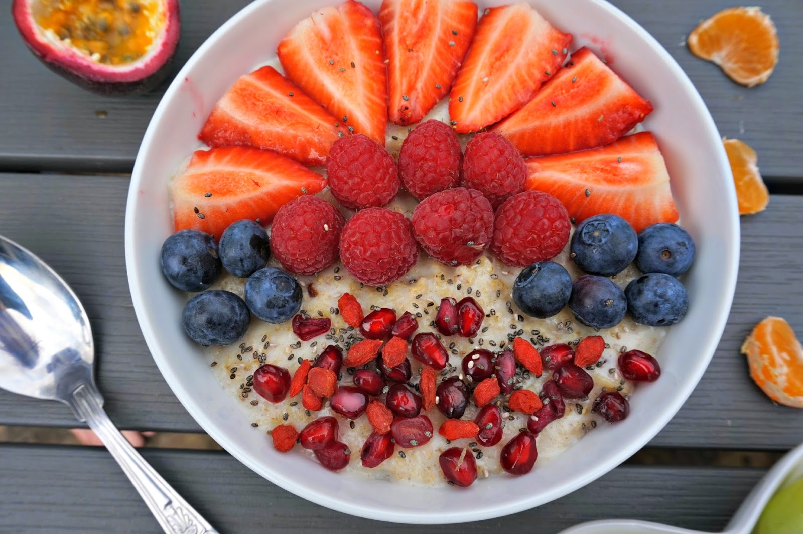 porridge with fresh fruits on top