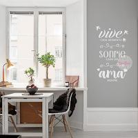 vinilo decorativo frase pared vive cada instante rie cada dia ama siempre