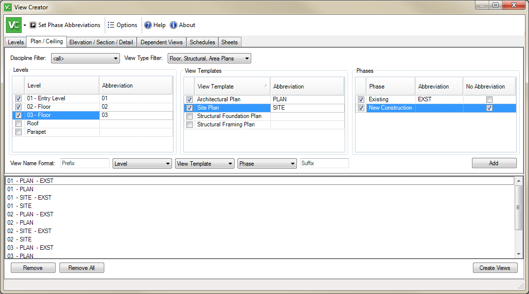 Revit Add Ons: View Creator Add in for Revit
