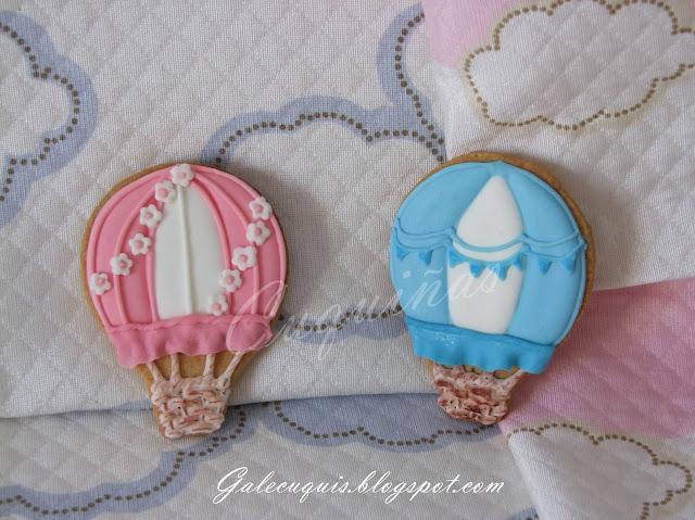 galletas decoradas globo aerostático rosa y azul