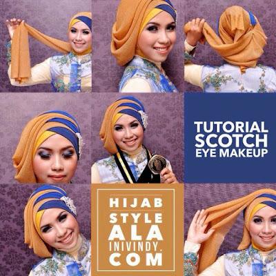 Tutorial Hijab Turban Pashmina Modern Gaya #10 Layer Samping Cool