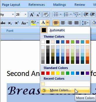 Image for Change font color word 2007 & 2010