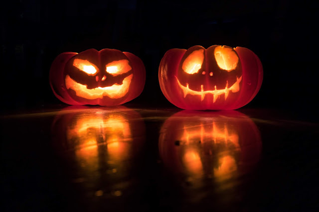 Glowing carved pumpkins