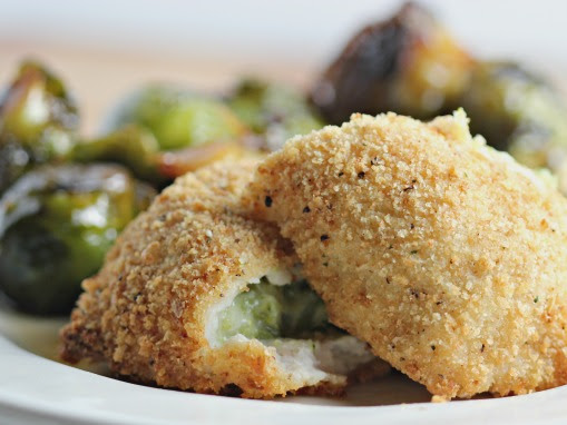 Honey Bacon Brussels Sprouts Recipe with Barber Foods Stuffed Broccoli & Cheese Chicken