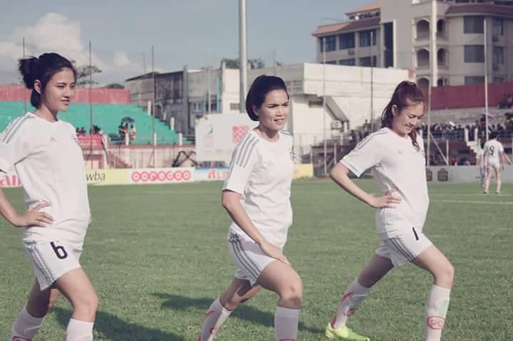 Aye Myat Thu , Paing Pyo Thu Play Football For Flood Funding in Myanmar