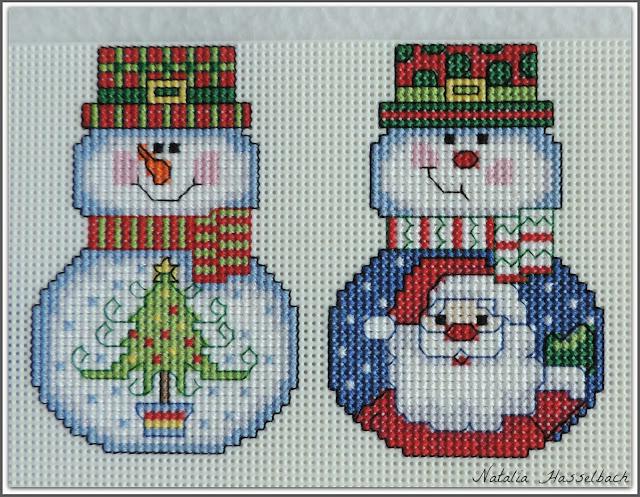 Снеговик с девочкой вышивка