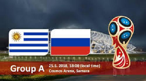 منتخب الاوروغواي تدل البلد المستضيف روسيا  3-0