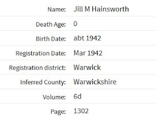 Death Registration Index for Jill M. Hainsworth (from Ancestry.co.uk website)