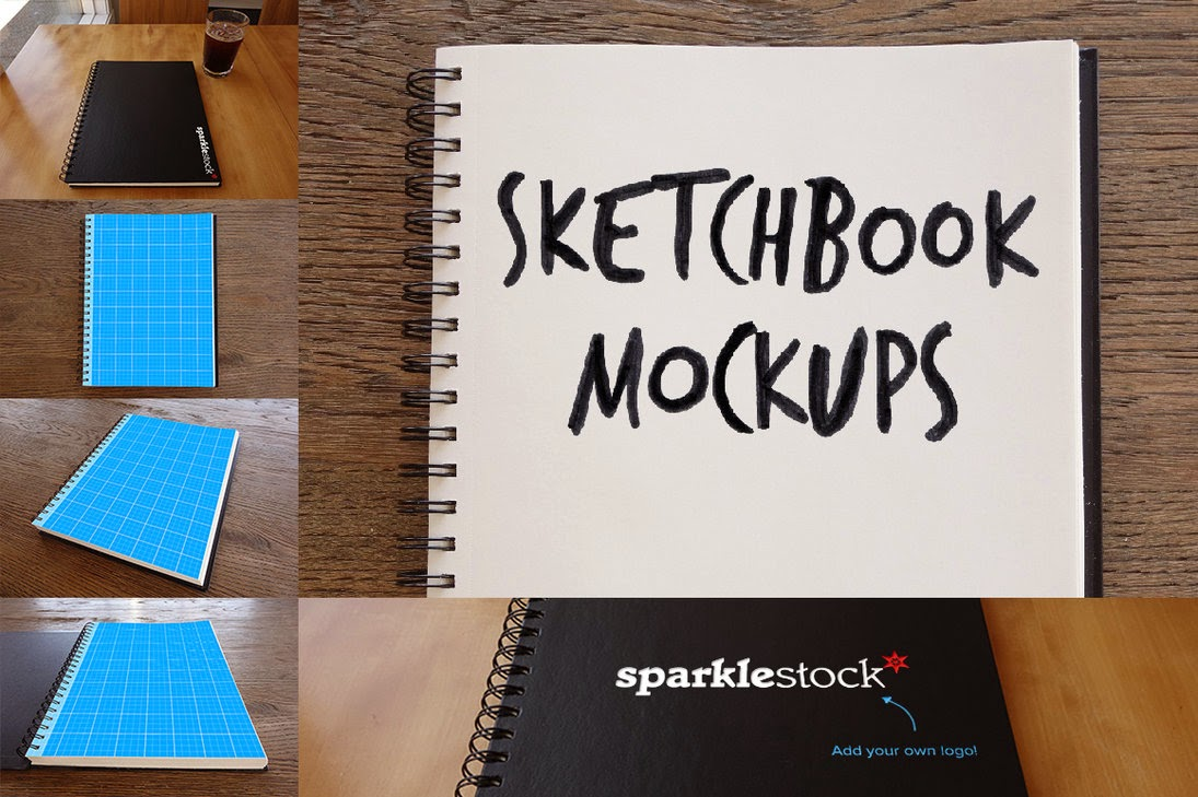 Free PSD Photorealistic Sketchbook Mockups