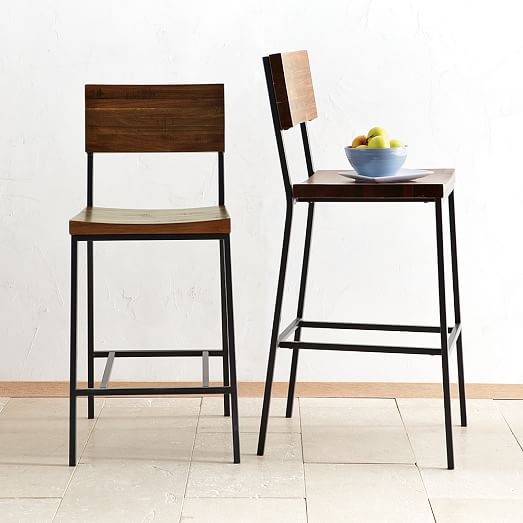 wood and metal kitchen counter stools