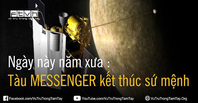 [Ftvh] Hình vẽ minh họa của họa sĩ cho thấy tàu MESSENGER đang bay quanh quỹ đạo của Sao Thủy. Credit : NASA/JHU/APL.