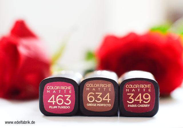 L'Oréal Color Riche, matte Lippenstifte,
