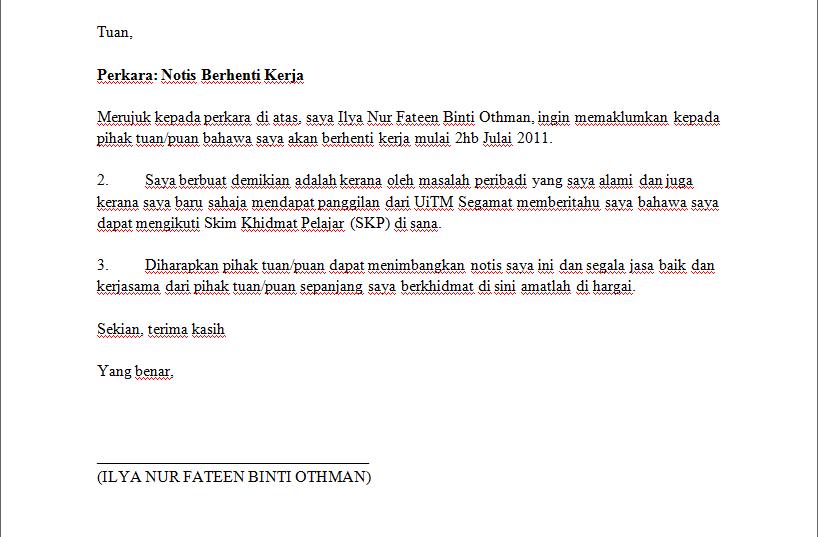 Format Surat Berhenti Kerja Notis 2 Minggu Brad Erva Doce Info
