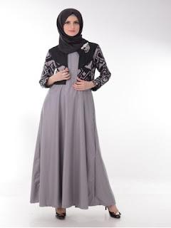 Model Long Dress Batik Kombinasi Blazer