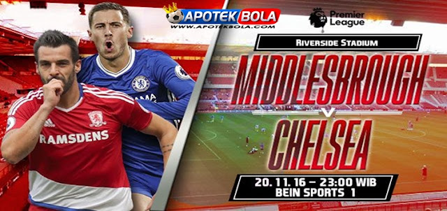 Prediksi Pertandingan Middlesbrough vs Chelsea 20 November 2016