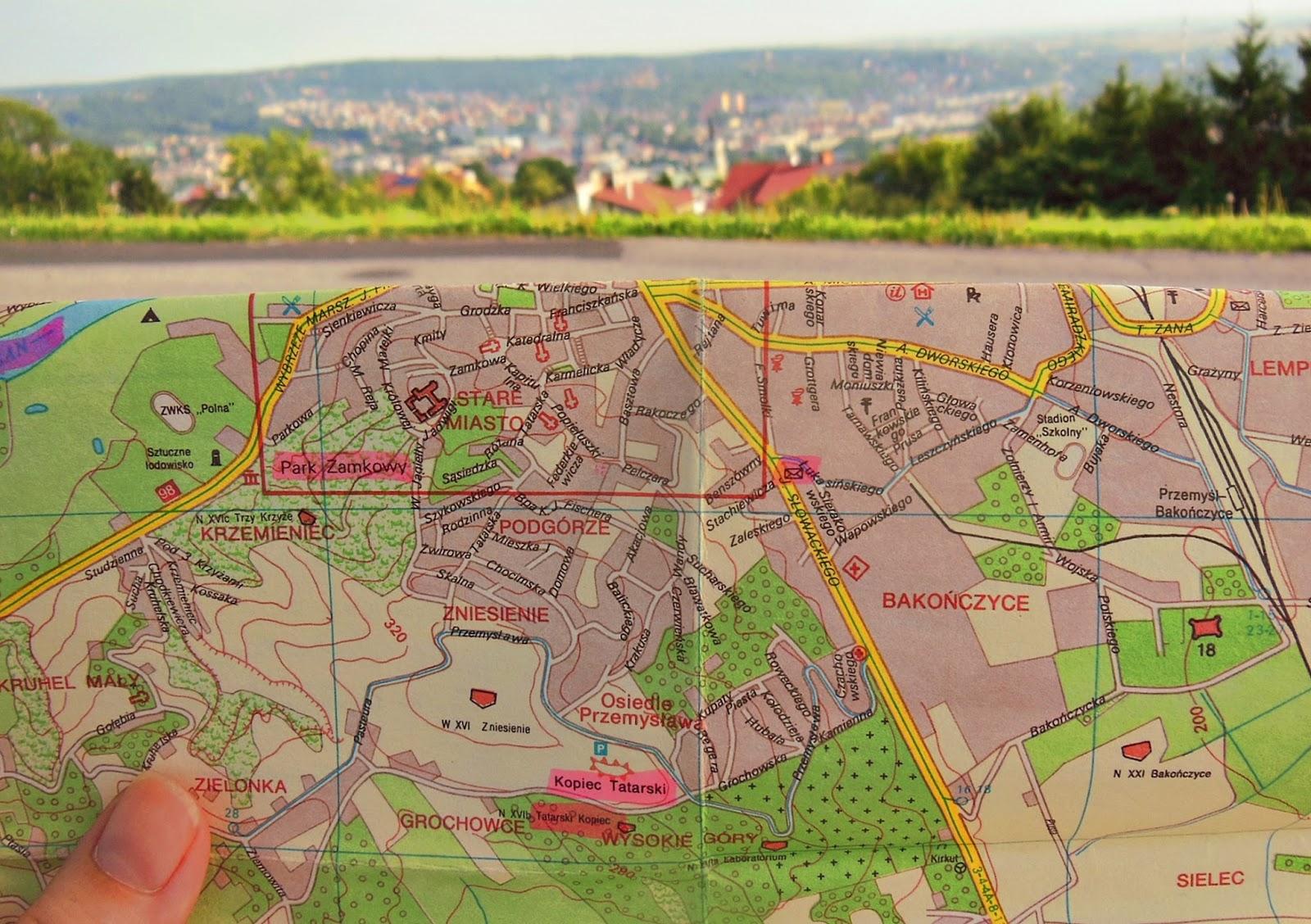 Przemyśl, Polska, mapa, z mapą w podróży