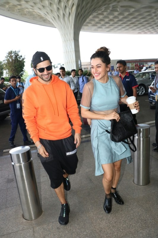 Varun Dhawan and Taapsee Pannu Spotted at Airport