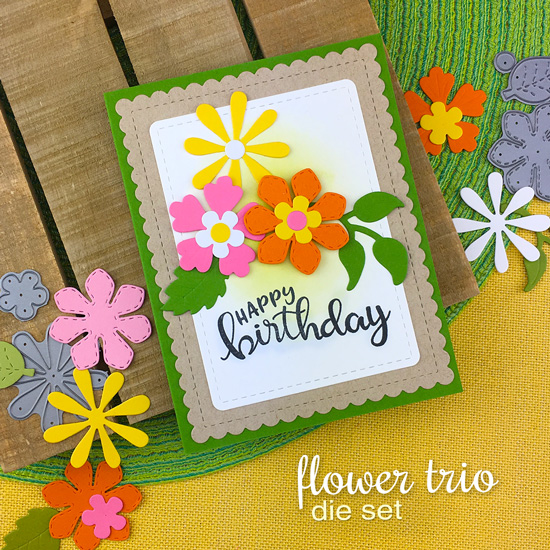 Flower Birthday card by Jennifer Jackson | Flower Trio Die Set and Birthday Essentials Stamp Set by Newton's Nook Designs
