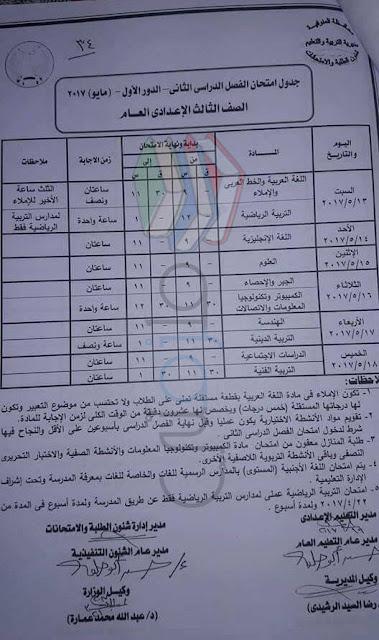 جدول امتحانات الصف الثالث الاعدادى 2017 الترم الثاني محافظة المنوفية
