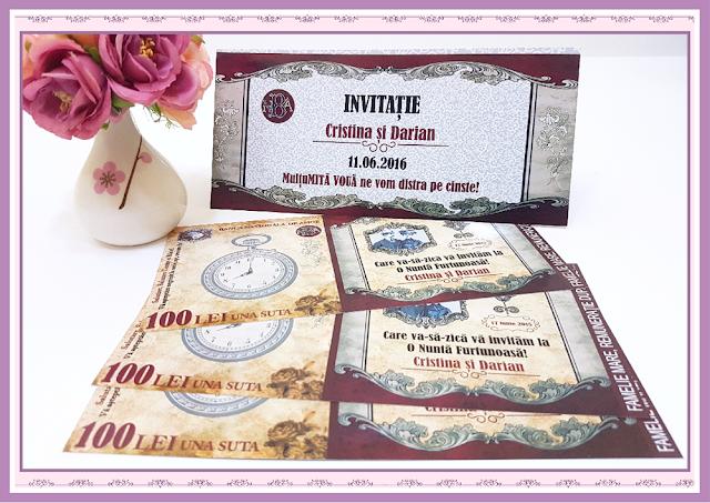 Invitatii Nunta Bancnota 100LEI Caragiale