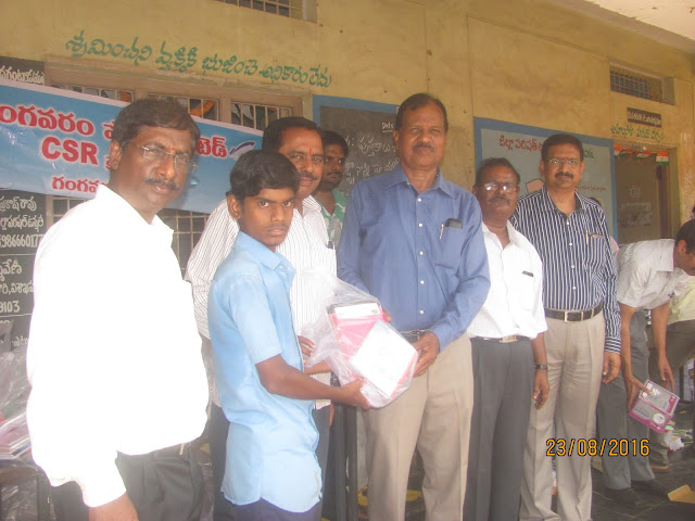 Gangavaram Port provides school infrastructure along with note books & Stationery to students