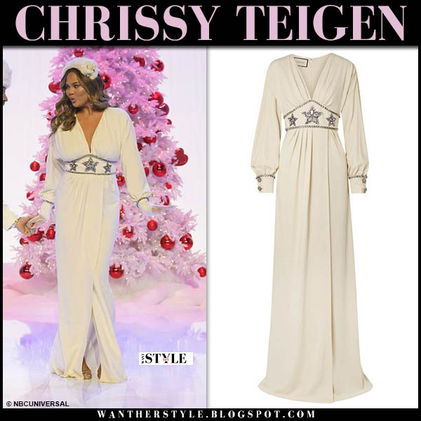 e74ce3397e94 Chrissy Teigen in white crystal star embellished maxi gucci dress legendary  christmas special nbc 2018