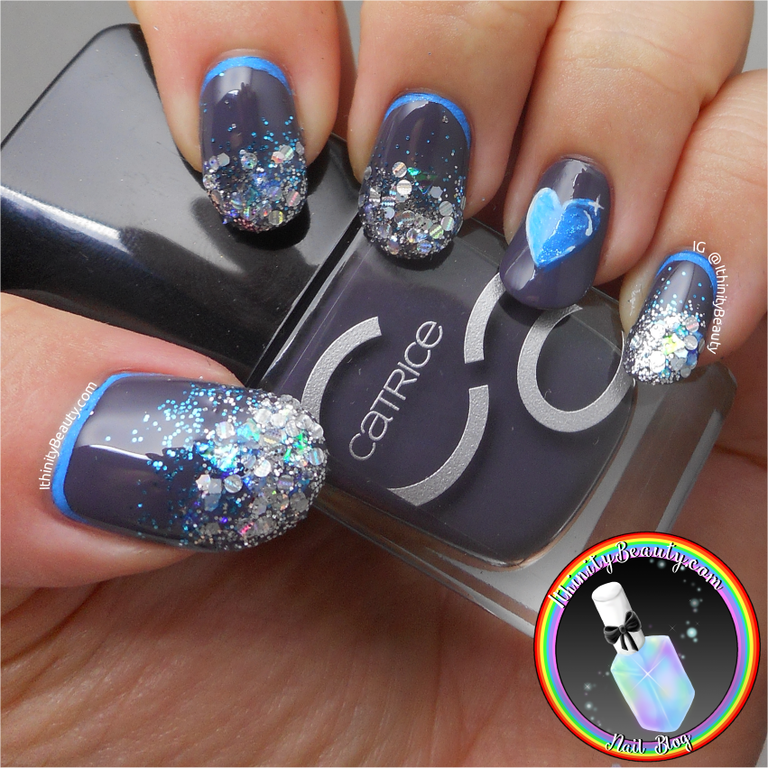 Bling It!\' Glitter Gel Nail Art With A Freehand Sapphire Heart ...