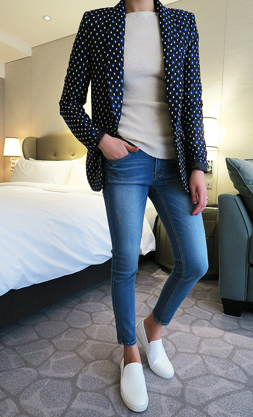 Cotton-Blend Patterned Blazer