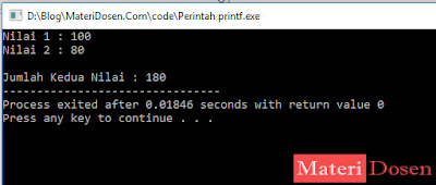 contoh program menggunakan fungsi printf()