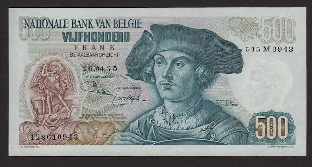 European money currency Belgium - 500 Belgian francs banknotes notes collection