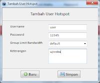 Antarmuka Tambah User Hotspot