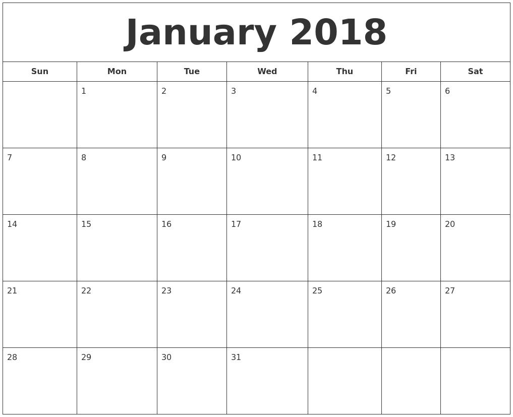 january 2018 printable calendar january 2018 printable templates january 2018 calendar templates january