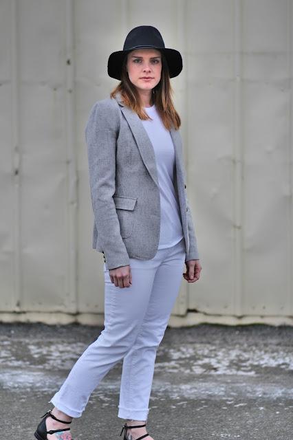 Banana Republic blazer, Zara stap flats, Gap jeans