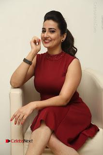 Telugu Tollywood Anchor Manjusha Pos in Red Short Dress  0046.JPG