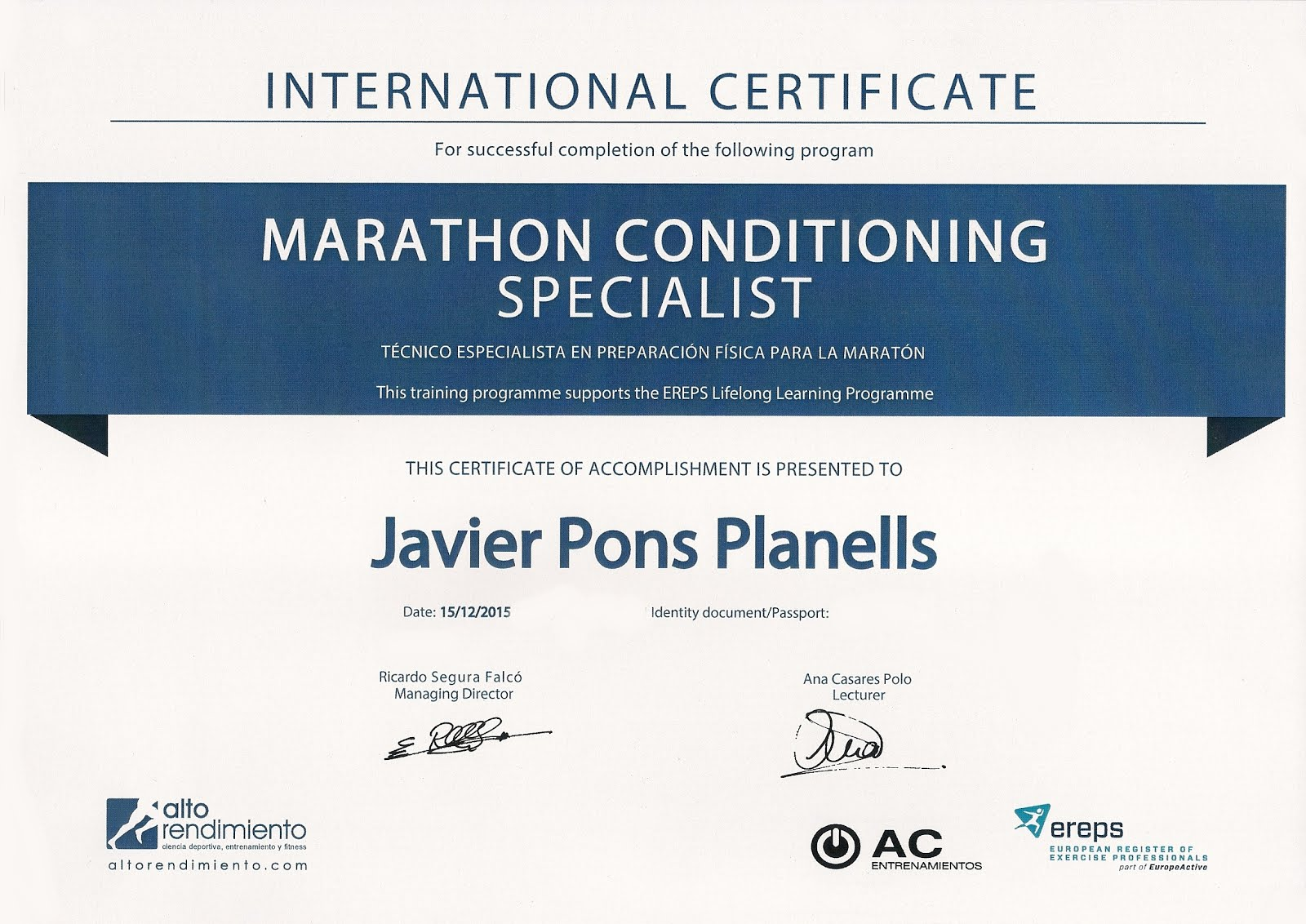 INTERNATIONAL CERTIFICATE MARATHON CONDITIONING SPECIALIST